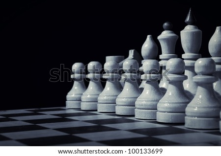 Chess on a chess board - stock photo