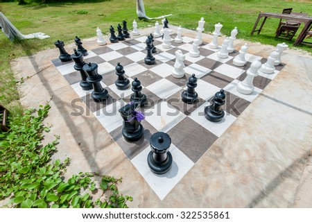 chess on a chessboard - stock photo