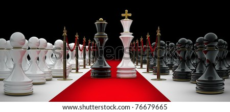 chess on red carpet isolated. 3d render - stock photo