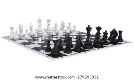 Chess on the chessboard. Isolated render on a white background