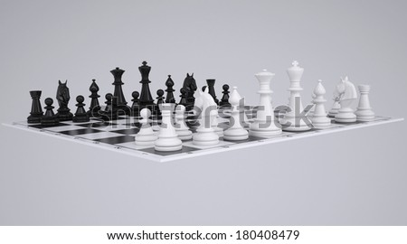 Chess on the chessboard. Render on a gray background