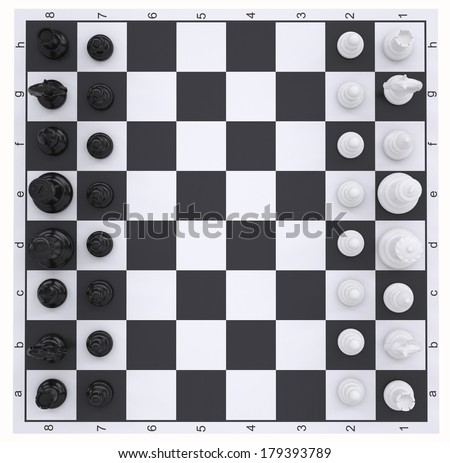 Chess on the chessboard. Top view. Isolated render on a white background - stock photo