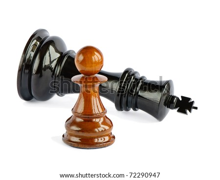 Chess pawn and chess king isolated on white background - stock photo