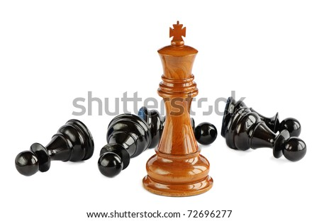 Chess pawn and king isolated on white background - stock photo