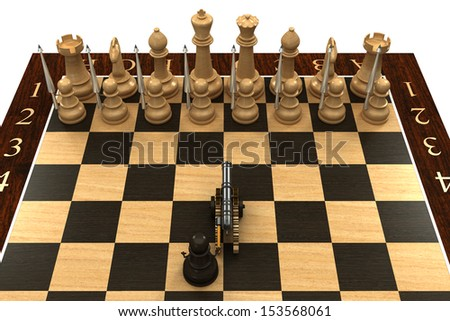 Chess pawn armed with a cannon. Concept. isolated. a white background. 3d