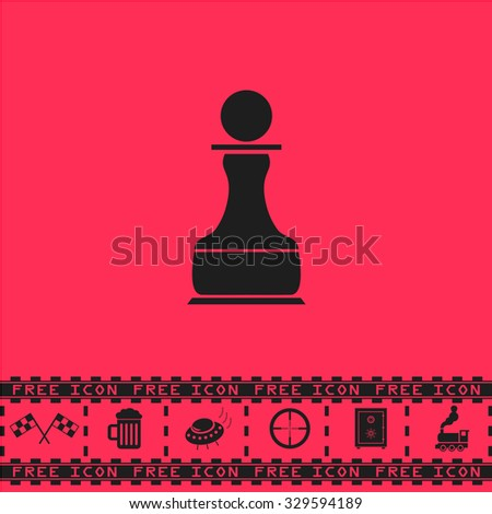 Chess Pawn. Black flat illustration pictogram and bonus icon - Racing flag, Beer mug, Ufo fly, Sniper sight, Safe, Train on pink background - stock photo