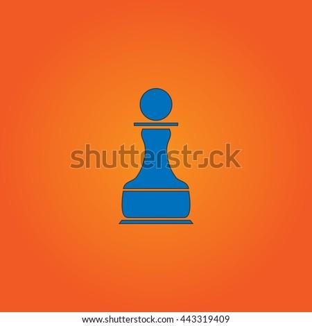 Chess Pawn Blue flat icon with black stroke on orange background. - stock photo