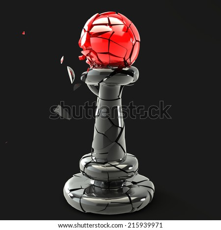 Chess Pawn, broken. Isolated. black background. 3d - stock photo