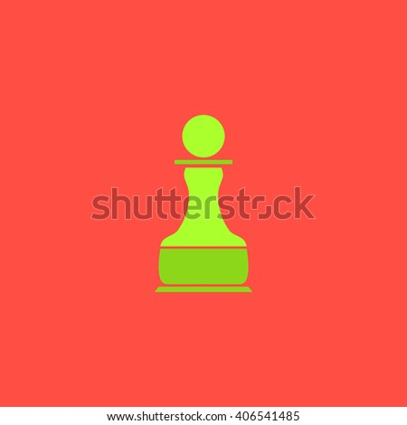 Chess Pawn Flat icon on color background. Simple colorful pictogram - stock photo