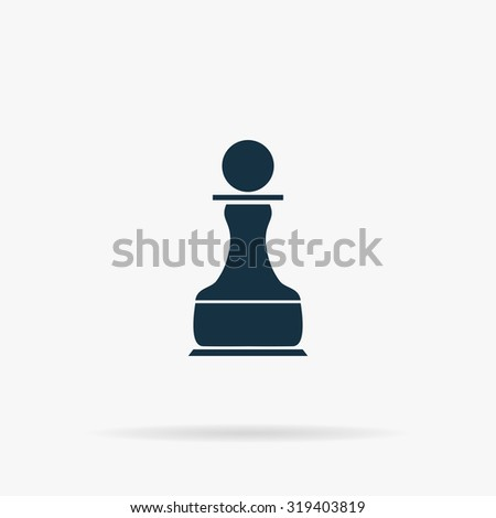 Chess Pawn. Flat web icon or sign on grey background with shadow. Collection modern trend concept design style illustration symbol - stock photo