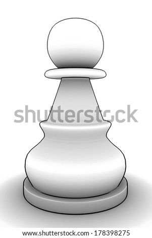 chess pawn. isolated white background. 3d - stock photo