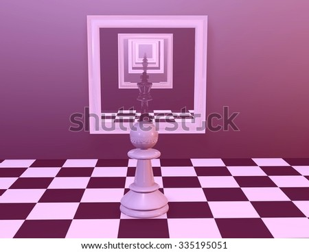 Chess pawn looking in mirror with multiple reflections. - stock photo