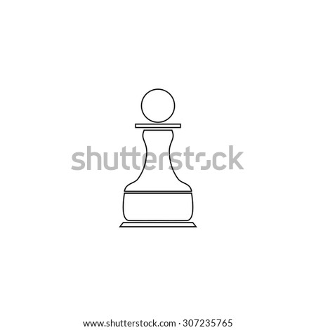 Chess Pawn. Outline black simple symbol - stock photo