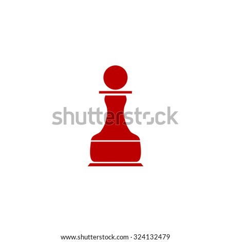 Chess Pawn. Red flat icon. Illustration symbol on white background - stock photo