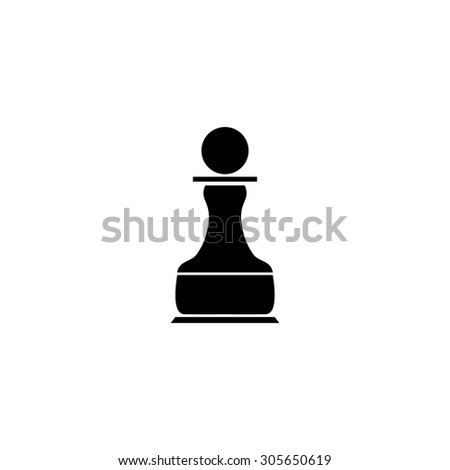 Chess Pawn. Simple black flat pictogram on white background - stock photo