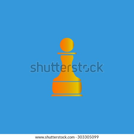 Chess Pawn. Simple flat icon on blue background - stock photo