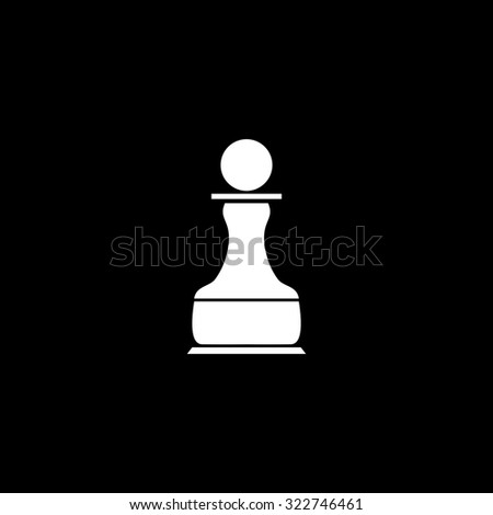 Chess Pawn. Simple icon. Black and white. Flat illustration - stock photo
