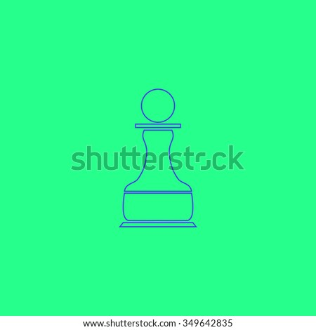 Chess Pawn. Simple outline illustration icon on green background - stock photo