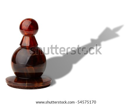 Chess pawn with king's shadow isolated on white background, clipping path included. - stock photo