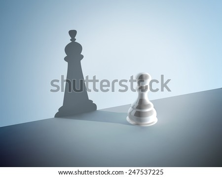 Chess pawn with the shadow of a queen. On blue background - stock photo