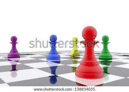 Chess pawns in different colors - stock photo