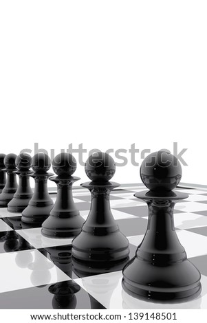 Chess pawns in single file - stock photo