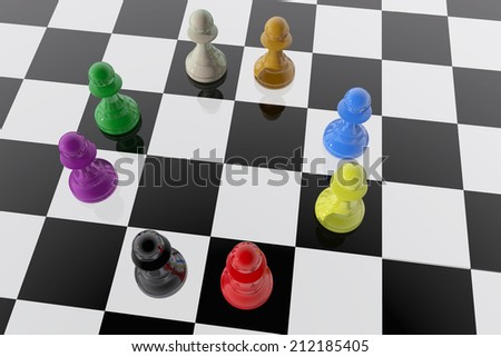 Chess pawns of different colors