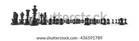 Chess piece panorama / 3D illustration chess pieces in wide panoramic composition