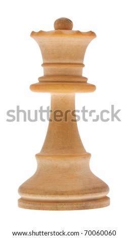 Chess piece queen in front of white background with clipping path - stock photo