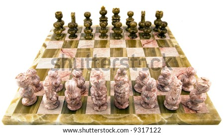 Chess pieces and board set to play and isolated on white. - stock photo