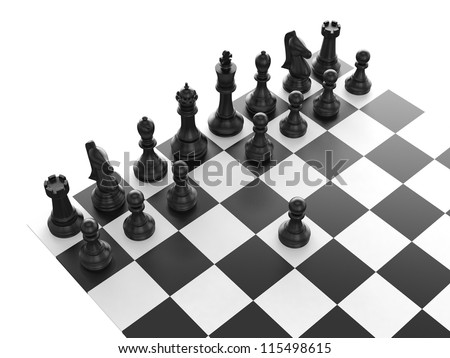 Chess pieces arranged on a chess board and black pawn standing out from the crowd with first move, isolated on white background. - stock photo