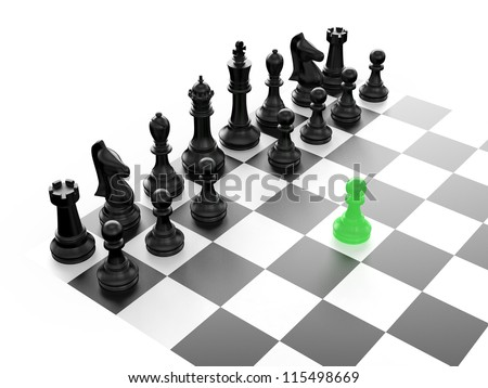 Chess pieces arranged on a chess board and green pawn standing out from the crowd with first move, isolated on white background. - stock photo