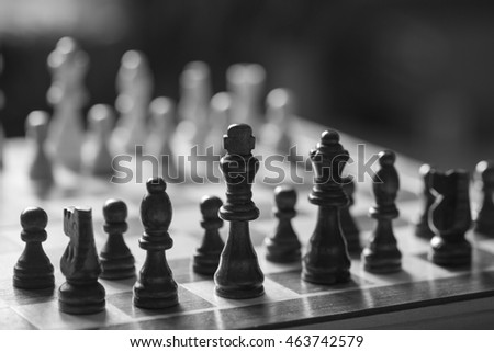 Chess pieces from black pieces side in black and white..