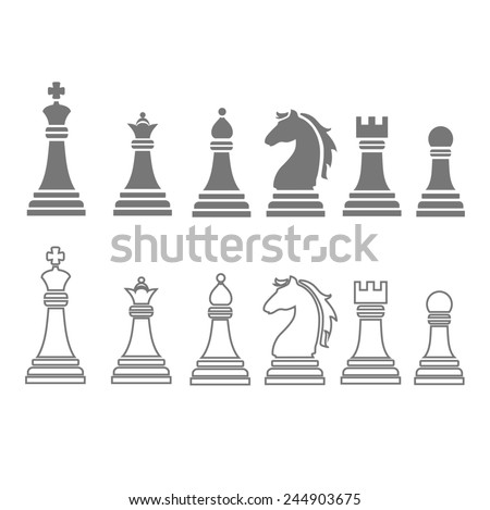 chess pieces including king, queen, rook, pawn, knight, and bishop  icons,  set - stock photo