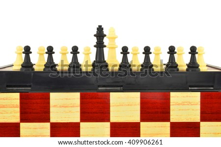 Chess pieces on a chessboard isolated on white. The image of modern humanity in chess. - stock photo
