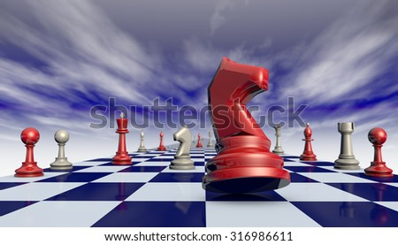 Chess pieces on a chessboard long (fantastic background).