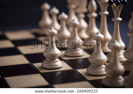 Chess pieces on a chessboard. Studio Shot - stock photo