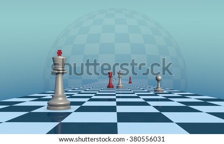 Chess pieces on a fantastic turquoise background. Lyrical scene.