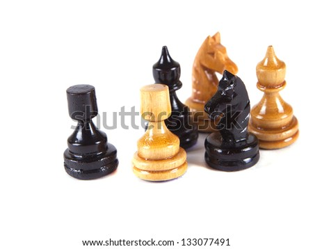 chess pieces on a white background - stock photo