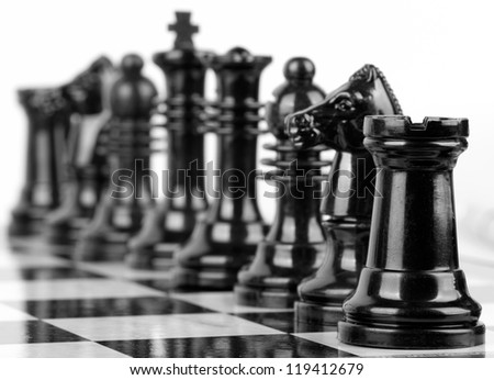chess pieces on board selective focuas