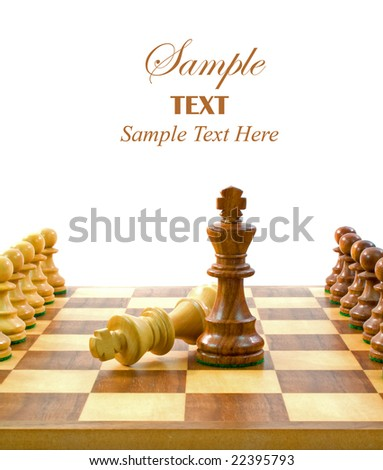 Chess Pieces on Board with copy space for text.