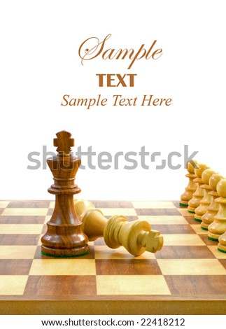 Chess Pieces on Board with copy space for text. - stock photo