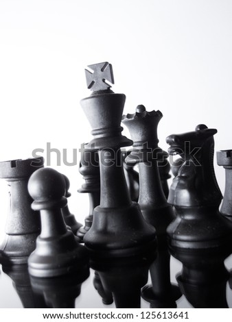chess pieces on the board - stock photo