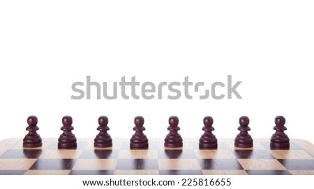 Dark Pieces Chess On White Background Stock Photo 75092650 ...