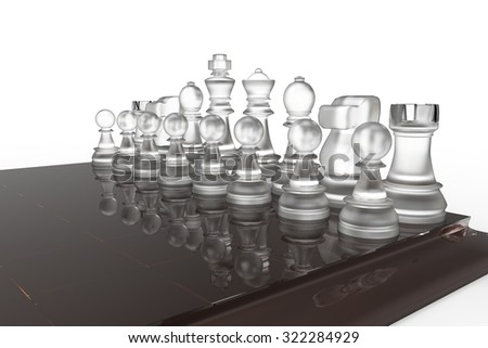 chess pieces on the board in bright colors 3d illustration