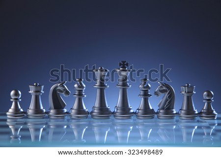 chess pieces on the chess board - stock photo
