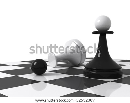 Chess pieces on the chessboard: black pawn with replaced head from recumbent white pawn. 3d render illustration isolated on white background