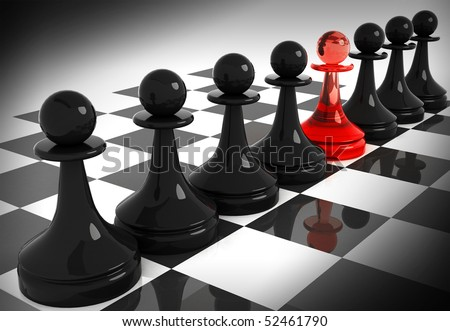 Chess pieces: one red made of glass pawn among seven classical shape black pawns on the chessboard. 3d render illustration. - stock photo