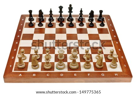 chess pieces placed on chessboard isolated on white background - stock photo