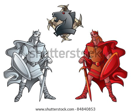 Chess pieces series, black and white kings, Dark Ages and fantasy, including chess horse emblem, raster from vector illustration - stock photo